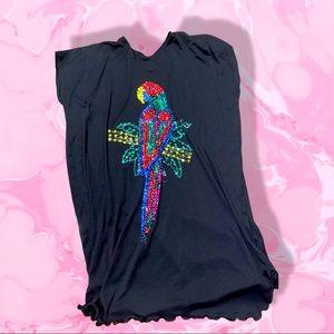 80's Vintage oversized sequin parrot T-shirt dress